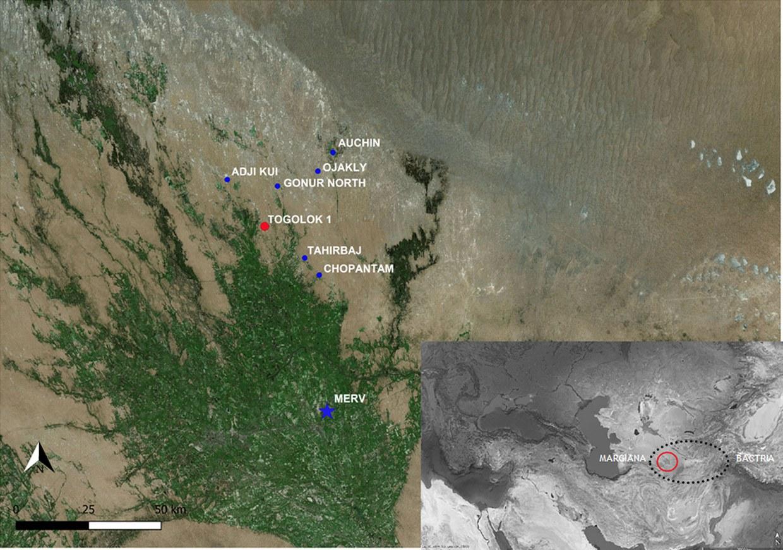 Mappa satellitare che riporta i principali siti archeologici ell'area del conoide alluvionale del fiume Murghab