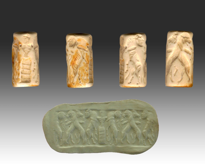Fotografia di un sigillo cilindrico in pietra bianca ritraente una figura umana nell'atto di difendere due uomini-toro attaccati da altrettanti leoni