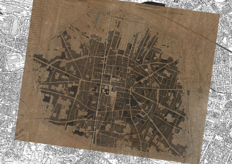 Pianta topografica della citta di Bologna nel 1822, sovrapposta alla carta tecnica regionale