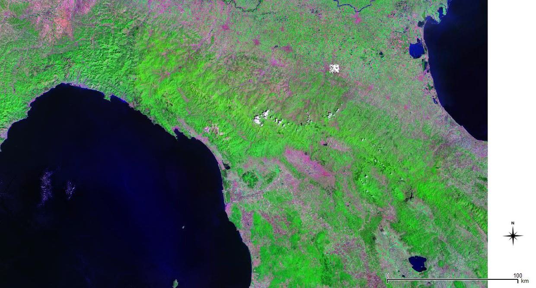 Immagine satellitare landsat 7 dell'Italia centro settentrionale, con l'indicazione della posizione di Bologna