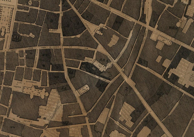 Dettaglio della carta topopgrafica del 1822, che riporta l'area di San Giovanni in Monte