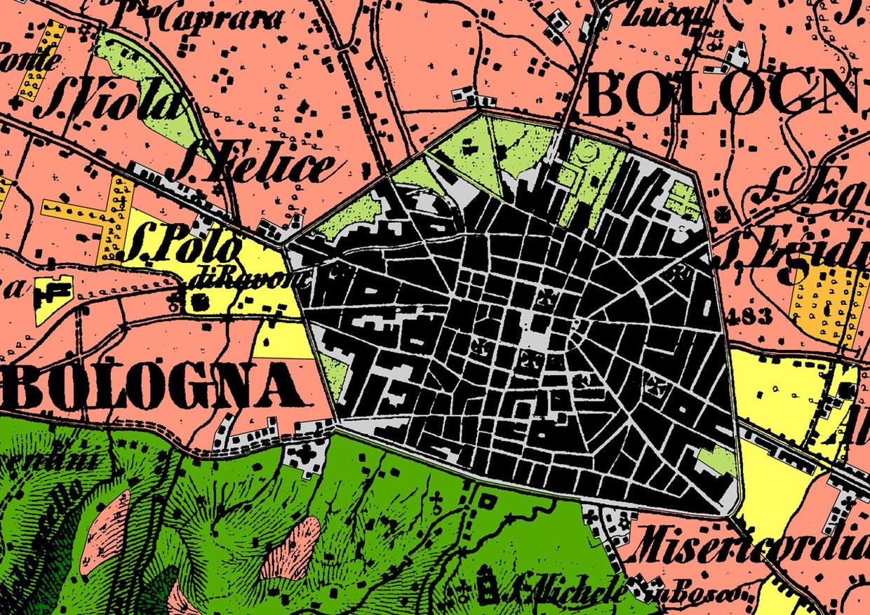 Dettaglio del centro storico di Bologna nella carta topografica del 1853, con l'indicazione dell'uso del suolo mediante colori