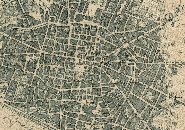Dettaglio del centyro storico di Bologna ritratto nella carta carta storica del 1871