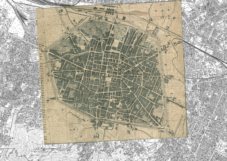 Carta storica della città di Bologna del 1871 sovrapposta alla carte tecnica regionale