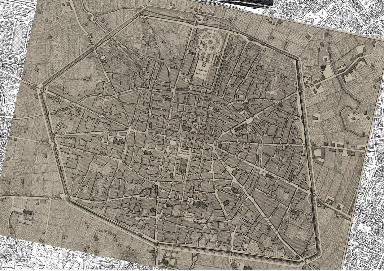 Carta tografica della città di Bologna, incisa da Enrico Corty nel 1850, sovrapposta alla carta tecnica regionale