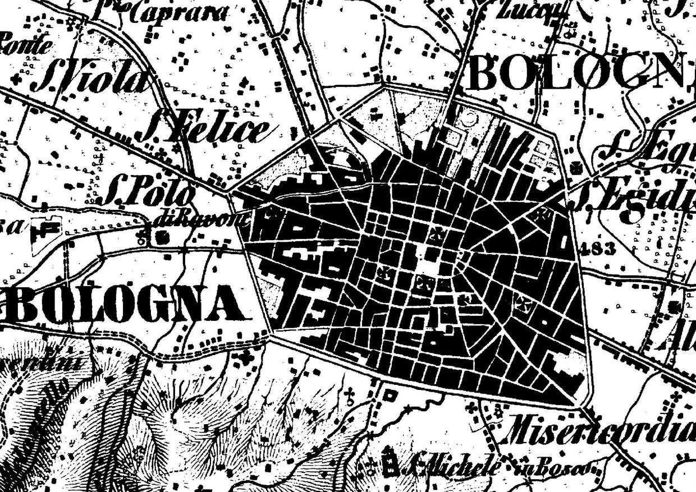 Dettaglio della carta topografica del 1853 che ritrae il centro storico di Bologna