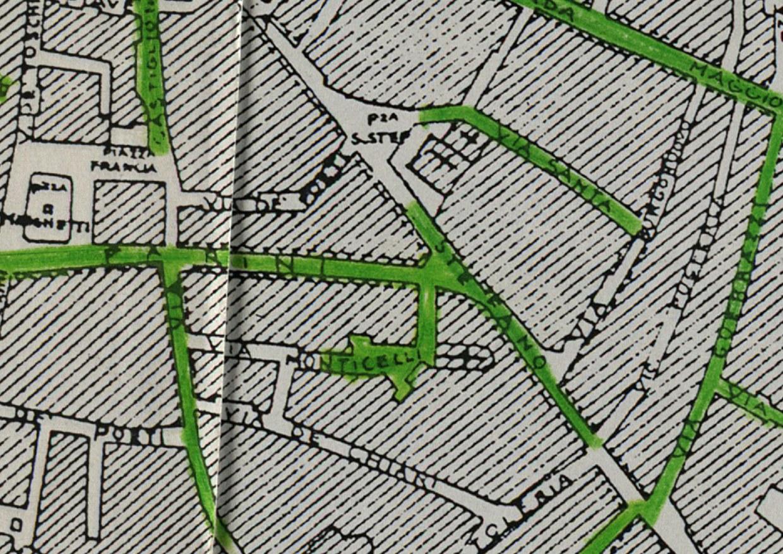 L'area di San Giovanni in Monte nella carta che riporta le strade della città di Bologna interessate dalle incursioni aeree fino al settembre 1944