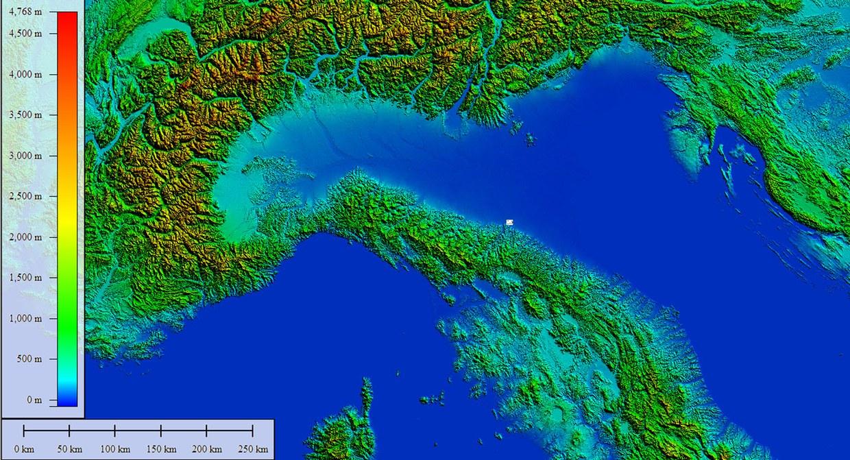 Posizionamento di Bologna su una immagine radar Aster GDEM 2011