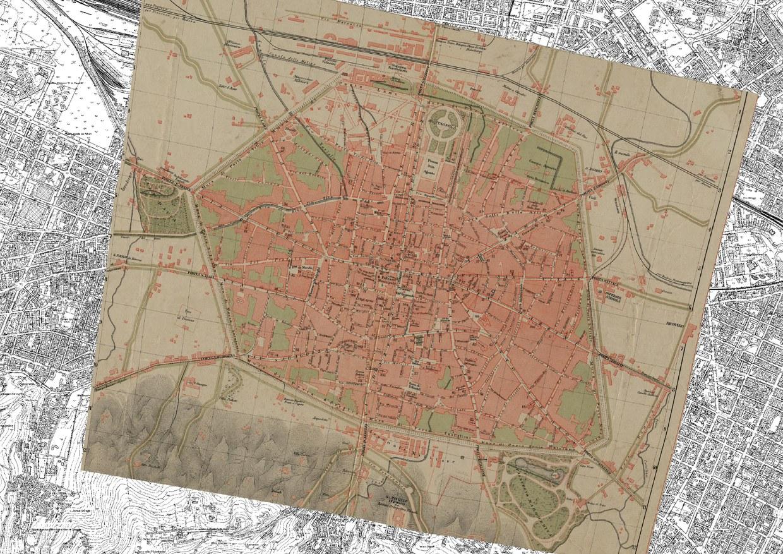 Pianta della città di Bologna risalente al 1891, sovrapposta alla carta tecnica regionale