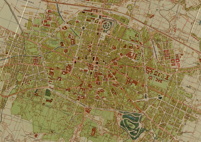 Carta topografica della citta di bologna, aggiornata alla primavera del 1939, con l'indicazione delle varie categorie di edifici e di strade e delle linee tranviarie urbane