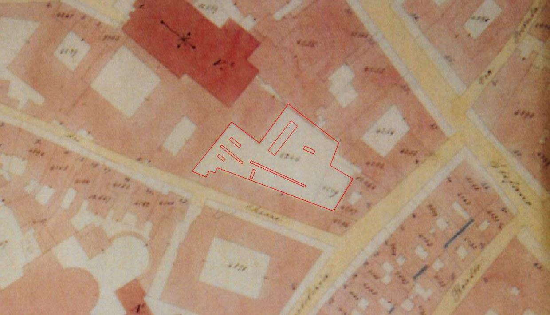 Indicazione dei saggi di scavo degli anni 1999 e 2000 sulla mappa catastale del 1873