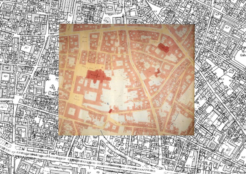 Dettaglio della mappa catastale di Bologna del 1873 sovrapposto alla carta tecnica regionale