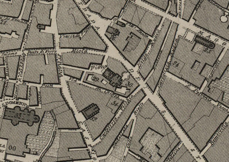 Dettaglio della carta topografica di Bologna del 1850, che mostra l'area di San Giovanni in Monte