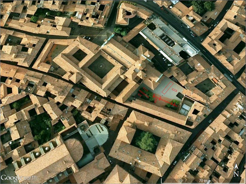 Dettaglio delle aree degli scavi archeologici degli anni 1999 e 2000, nella mappa ricavata da Google Earth nel 2014