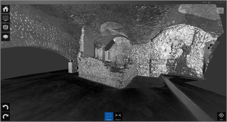 Immagine che ritrae la ripresa 3D, condotta con un laser scanner Faro 3D MS120, della struttura muraria musealizzata nel seminterrato di San Giovanni in Monte