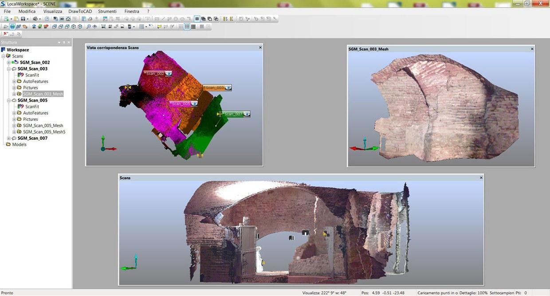 Immagine che ritrae il modello 3D della struttura della struttura muraria musealizzata nel seminterrato di San Giovanni in Monte, ricavato mediante l'elaborazione dei dati con il software Scene 5.0.0.4