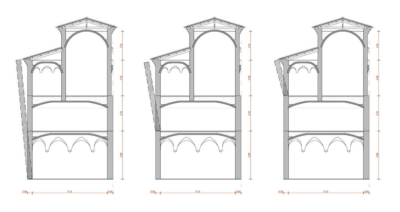 Riproduzione del disegno che rappresenta i meccanismi di ribaltamneto analizzati per la porzione 1 del complesso