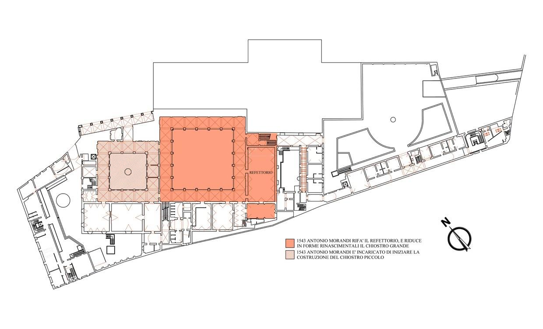 Riproduzione della pianta del complesso di San Giovanni in Monte, ne secondo periodo, tra il 1452 e il 1570
